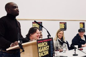 Photograph of Alex Ajufo (RMT (National Union of Rail, Maritime and Transport Workers) Rep) addressing trade unionists at the Stand Up To Racism - Trade Union Conference. (10.02.18)