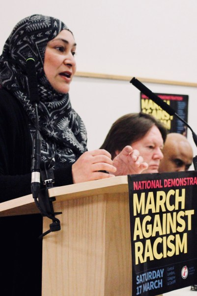 Photograph of Salema Khatun (Newham anti-academy campaigner) addressing trade unionists at the Stand Up To Racism - Trade Union Conference. (10.02.18)