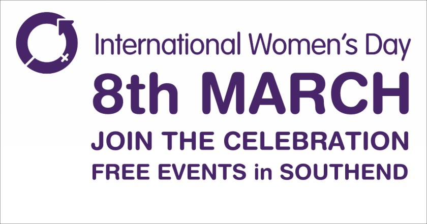 "Website / Social Media announcement banner reading ""International Women's Day, 8th March, Join the Celebration, Free Events in Southend."""