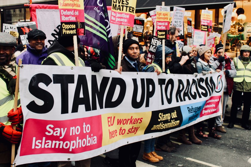 Photograph of the beginning of the MARCH AGAINST RACISM from Portland Place to Whitehall, London. (17 March 2018)