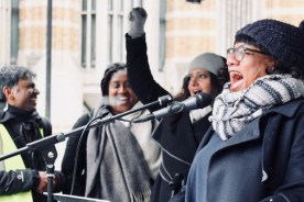 Photograph of Diane Abbott (Shadow Home Secretary) addressing MARCH AGAINST RACISM rally at Whitehall, London. (17 March 2018)