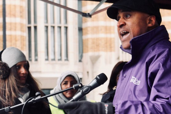 Photograph of Roger McKenzie (UNISON Assistant General Secretary) addressing MARCH AGAINST RACISM rally at Whitehall, London. (17 March 2018)