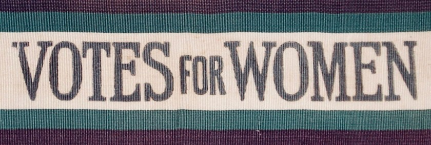 Photograph of Suffragette sash (c.1910).