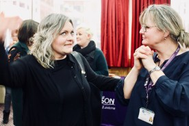 Photograph of UNISON Southend-on-Sea members chatting, networking and enjoying a delicious buffet after AGM 2018.
