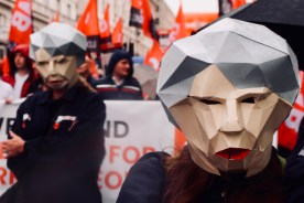Photograph of protesters dressed as Theresa May Bots at TUC march on 12 May 2018.