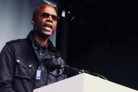 Photograph of Dr Patrick Roach (NASUWT Deputy General Secretary) addressing TUC rally at Hyde Park, London. (12 May 2018)