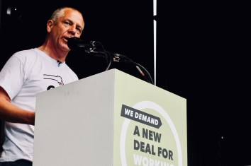Photograph of Tim Roache (GMB General Secretary) addressing TUC rally at Hyde Park, London. (12 May 2018)