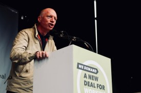 Photograph of Matt Wrack (General Secretary of Fire Brigades Union) addressing TUC rally at Hyde Park, London. (12 May 2018)