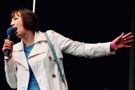 Photograph of Frances O'Grady (TUC General Secretary) addressing TUC rally at Hyde Park, London. (12 May 2018)