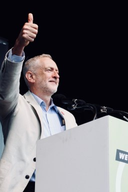 Photograph of Jeremy Corbyn (Leader of the Labour Party) addressing TUC rally at Hyde Park, London. (12 May 2018)
