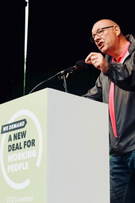 Photograph of Dave Ward (CWU General Secretary) addressing TUC rally at Hyde Park, London. (12 May 2018)