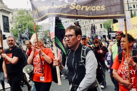 Photograph of Claire Wormald (Secretary, UNISON Southend-on-Sea), Sam Adams (Member, UNISON Southend-on-Sea) and UNISON Members at TUC march on 12 May 2018.