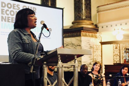 Photograph of Diane Abbott (Shadow Home Secretary) addressing attendees at The People's Assembly Against Austerity CHANGE IS COMING conference.
