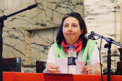 Photograph of Emmanuelle Bigot (SUD Rail, France) addressing attendees at The People's Assembly Against Austerity CHANGE IS COMING conference.