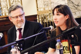 Photograph of Barry Gardiner MP (Shadow Secretary of State for International Trade) and Rachel O'Brien (Disabled Students' Officer, National Union of Students (NUS)) addressing attendees at The People's Assembly Against Austerity CHANGE IS COMING conference.