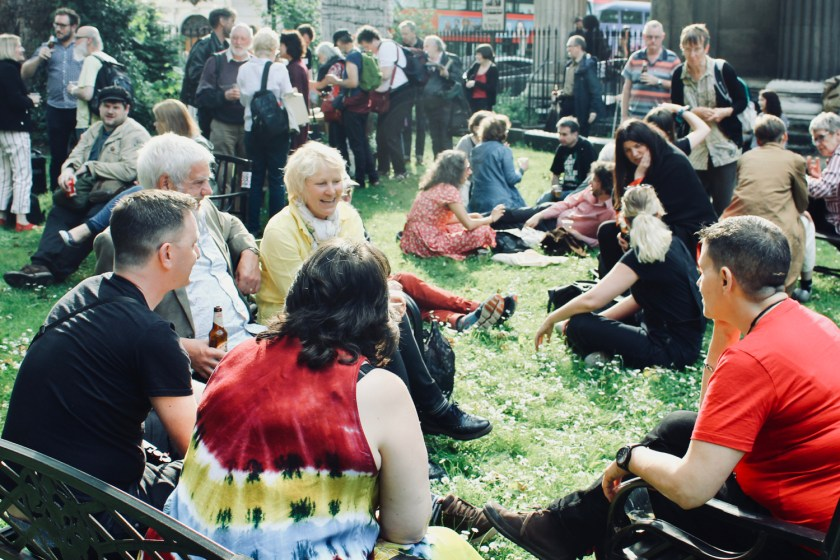 Photograph of social and networking opportunity after The People's Assembly CHANGE IS COMING conference.