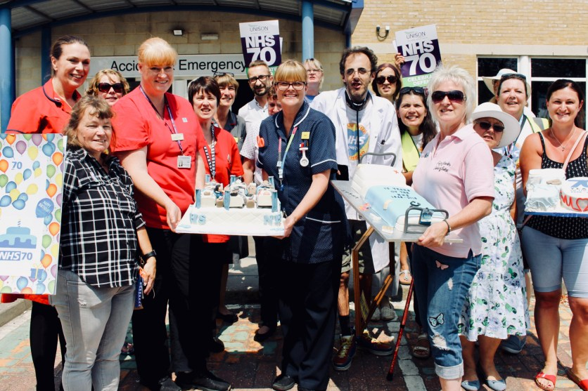 Photograph of birthday cakes and cards being presented to the Southend NHS staff at the 'Happy Birthday Southend NHS!' event on Thursday 5th July, 2018.