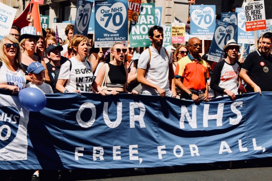 Photograph of protest vanguard at the 'Our NHS is 70 Celebration & Demonstration' on Saturday 30th June.