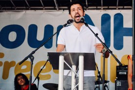 Photograph of Ralf Little (Actor) addressing 'Our NHS is 70' rally at Westminster, London. (30 June 2018)
