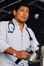 Photograph of Dr Jeeves Wijesuriya (British Medical Association (BMA)) addressing Our NHS is 70 rally at Westminster, London. (30 June 2018)