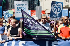 Photograph of Dave Prentis (UNISON General Secretary) at the 'Our NHS is 70 Celebration & Demonstration' on Saturday 30th June.