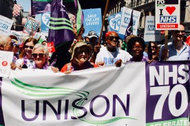 Photograph of UNISON members at the 'Our NHS is 70' march on Saturday 30th June.