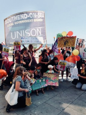 Photograph of UNISON Southend-on-Sea members and protestors at the SOUTHEND-ON-SEA AGAINST TRUMP march on Friday 13th July.
