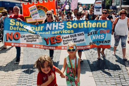 Photograph of SAVE OUR NHS SOUTHEND on Southend Pride Parade along the High Street, Southend-on-Sea.