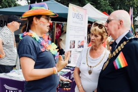 Photograph of Gina Denham (Founder and Chair, TRANSPIRE) talking with Mayor and Mayoress of Southend, Derek and Valerie Jarvis.