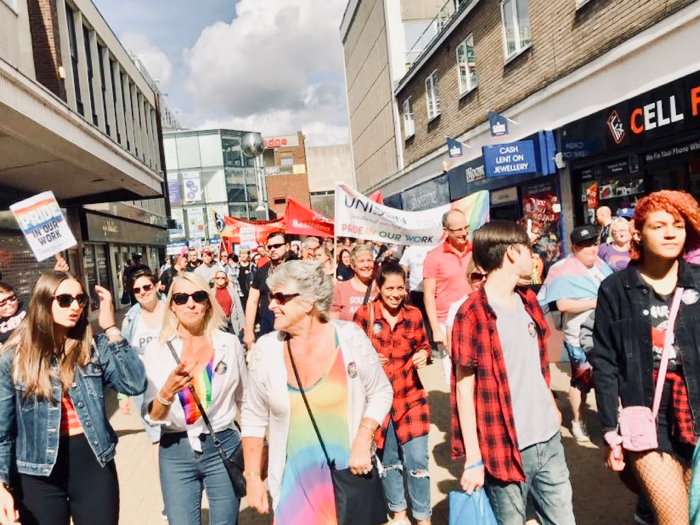 Photograph of the Basildon mini-Pride March.