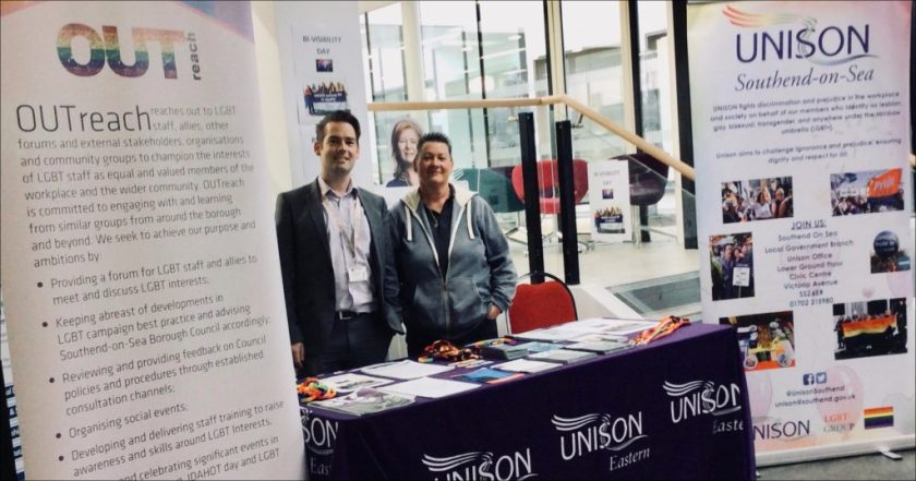 Photograph of Michael Sargood (OUTreach member) and Sam Adams (UNISON LGBT+ Support Officer) on the UNISON Bi Visibility Day stall at Southend-on-Sea Borough Council.