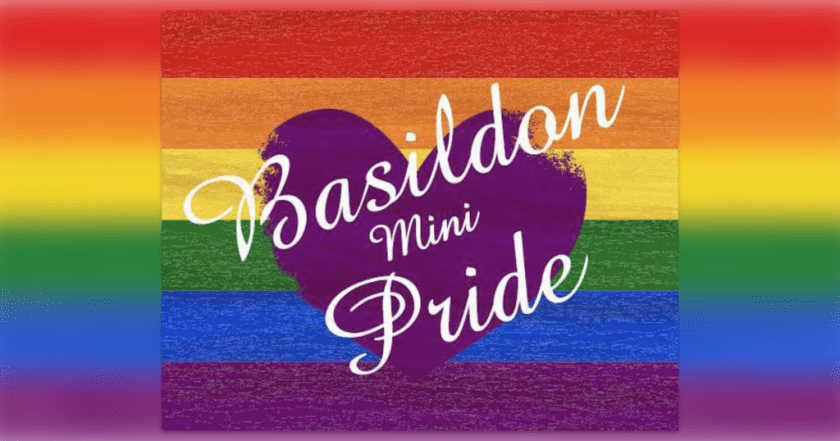 """Announcement graphic showing a rainbow flag overlaid with text reading: """"BASILDON mini-PRIDE."""""""