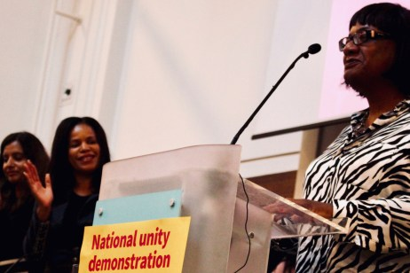 Photograph of Diane Abbott (Labour Party MP, Hackney North and Stoke Newington   Shadow Home Secretary) addressing attendees at STAND UP TO RACISM International Conference 2018.