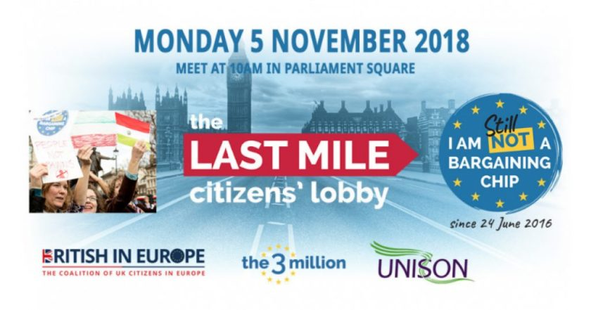 Announcement graphic to join THE LAST MILE CITIZENS' LOBBY on Monday 5th November 2018 – Meet at 10AM in Parliament Square.