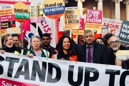 Photograph of Stand Up To Racism vanguard at the National Unity Demonstration on Saturday 17th November 2018.