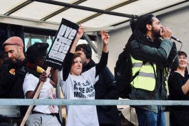 Photograph of Love Music Hate Racism float at the National Unity Demonstration on Saturday 17th November 2018.