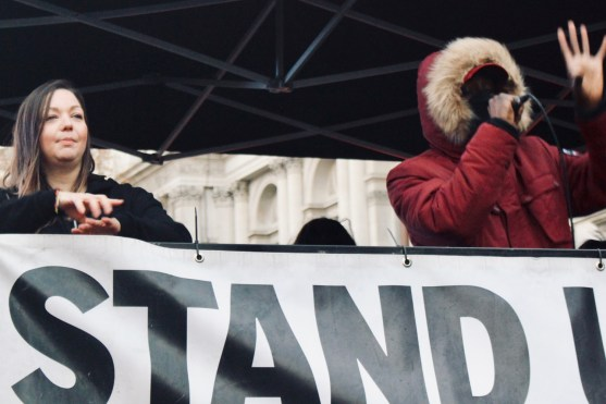 Photograph of musician at the 'National Unity Demonstration Against Fascism & Racism' rally at Whitehall, London on Saturday 17th November 2018.