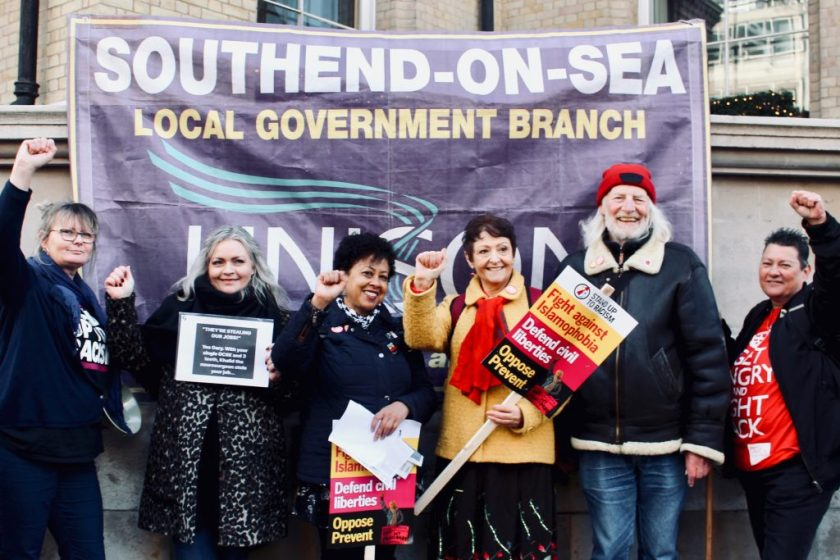 Photograph of Southend UNISON members and friends with branch banner.