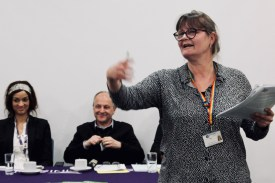 Photograph of Claire Wormald delivering Secretary's Report at AGM 2019.