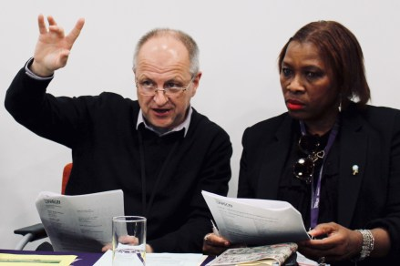Photograph of Steve Cooper (Branch Chair) and Gloria Lawton (Branch President) co-chairing Southend UNISON AGM 2019.