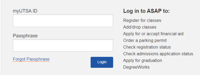 UTSA ASAP login page