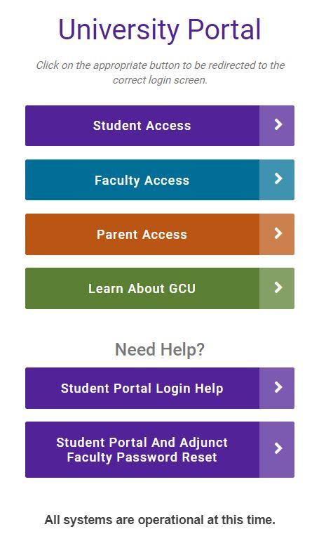 gcu student portal login page