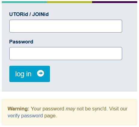 Acorn UOFT login page