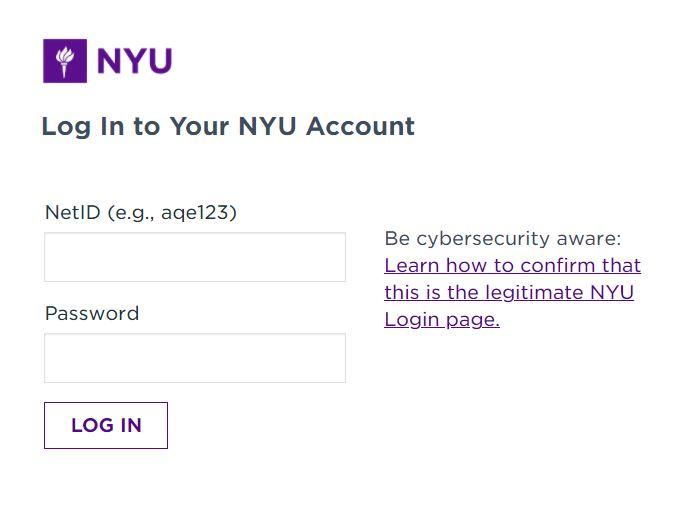 NYU Albert login page