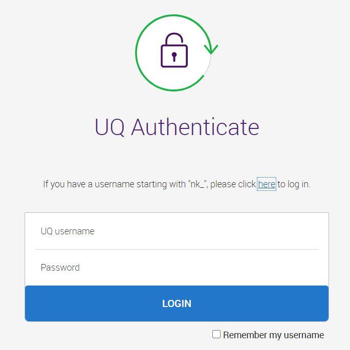 UQ Blackboard login page