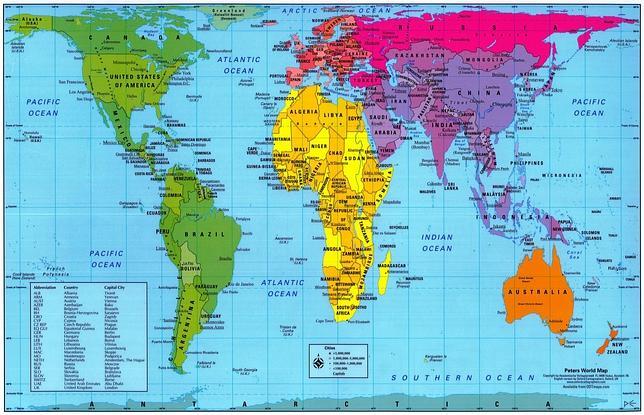 Mapa del mundo según la proyección de Gall-Peters