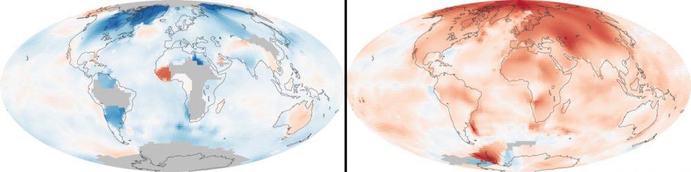 Calentamiento global (Izquierda: 1880-1889; derecha: 2000-2009): La temperatura media de la superficie de la Tierra ha aumentado aproximadamente 0,8 °C desde 1880. Dos tercios de este incremento se ha producido desde 1975, a un ritmo de aproximadamente 0,15 a 0,20 °C cada década.