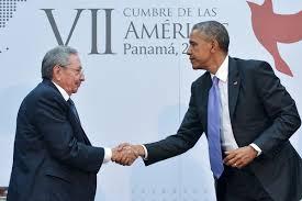 El histórico saludo de Castro y Obama en la OEA en abril de 2015