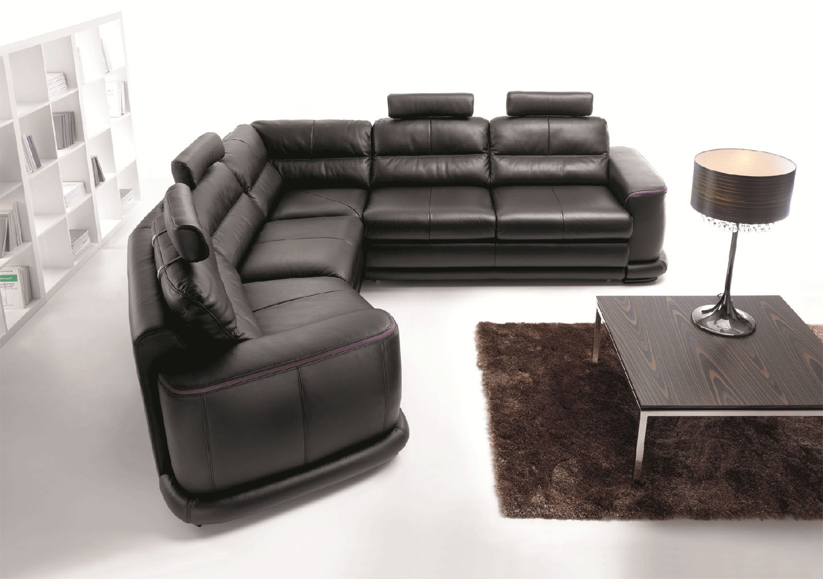 Esf Camino Sectional Sofa Bed In Black Leather