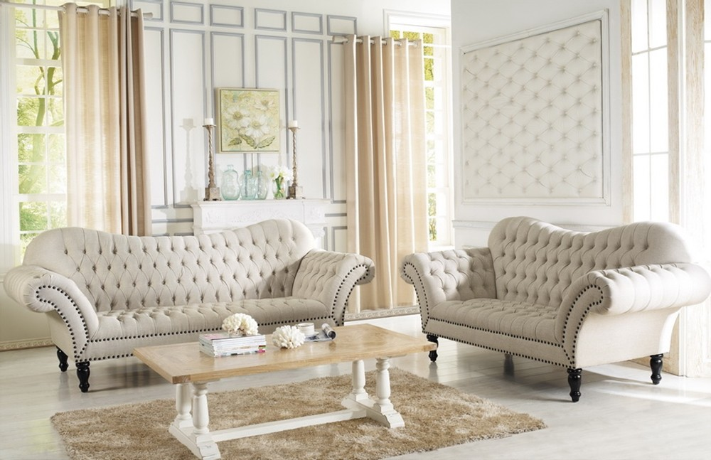 Consider fabric, function and style when selecting furniture for your remodel. 7202 Alina Beige Tufted Fabric Living Room Set